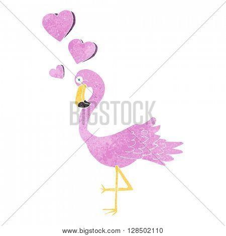 freehand retro cartoon flamingo in love