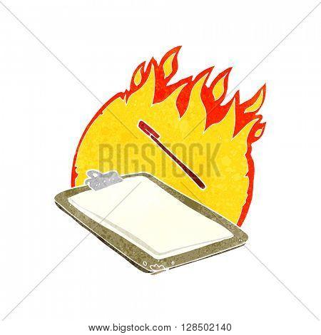 freehand retro cartoon clip board on fire
