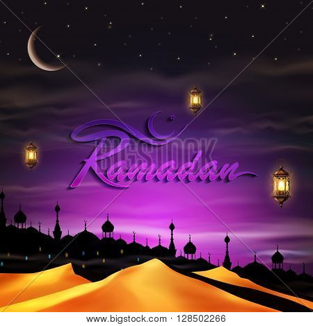 Ramadan, greeting background with lanterns, night city and desert.