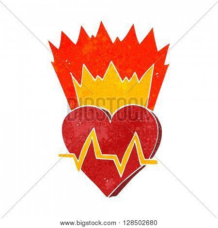 freehand retro cartoon heart rate