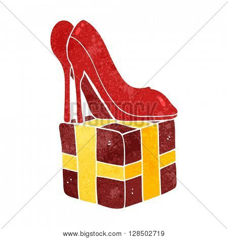 freehand retro cartoon high heel shoes gift