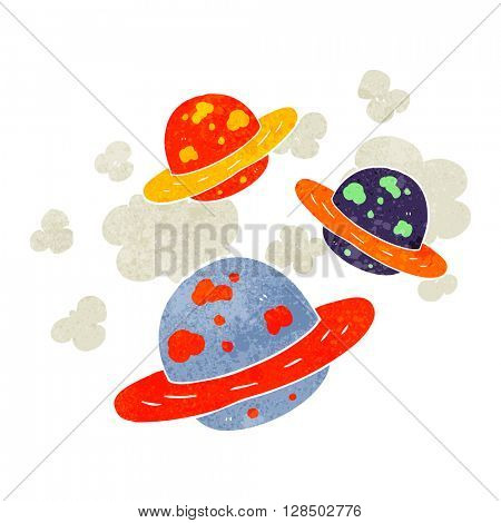 freehand retro cartoon planets