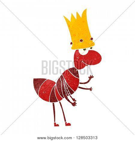 freehand retro cartoon ant queen