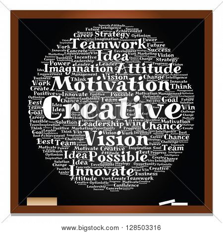 Vector concept or conceptual abstract creative business word cloud white chalk text on black blackboard