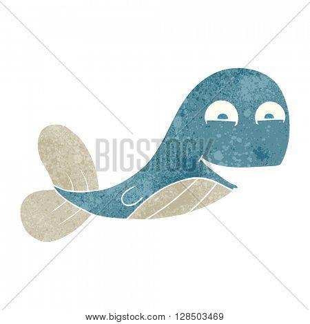 freehand retro cartoon whale