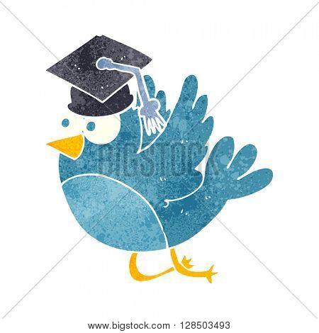 freehand retro cartoon bird wearing graduation cap