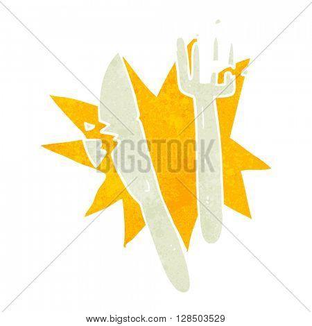 freehand retro cartoon cracked plastic cutlery