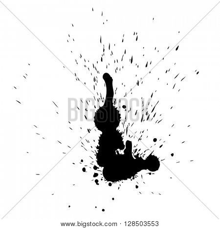 Vector artistic black paint hand made creative wet dirty ink or oil drop spots silhouette isolated on white background