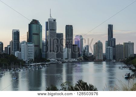 Brisbane, Australia - 23rd April, 2016: View of Brisbane City from Kangaroo Point during the day on the 23rd of April 2016.