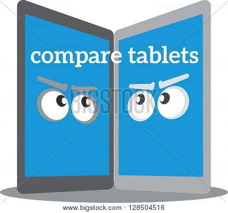 Tablets PC Isolated On White Background. Vector Illustration compare tablets