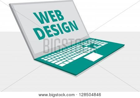 Abstract flat vector illustration of web design and development concept with laptop flat design