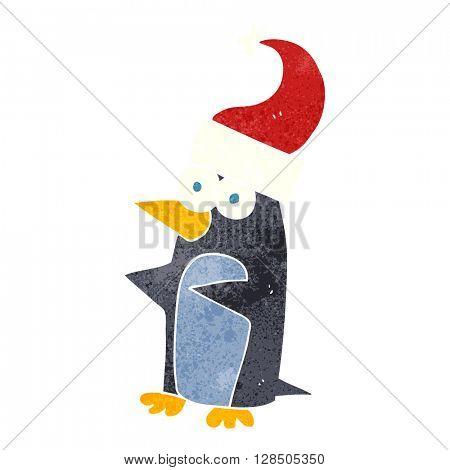 freehand retro cartoon christmas penguin