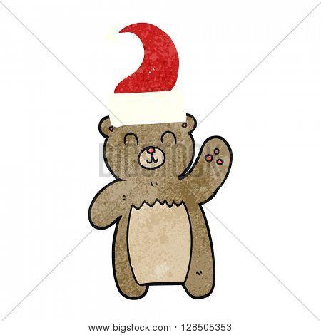 freehand drawing of a cartoon teddy bear waving