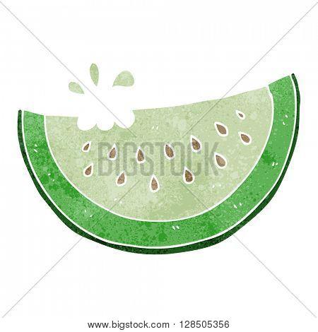 freehand retro cartoon melon slice