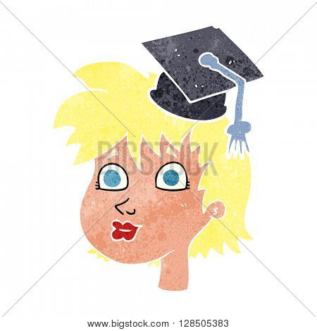 freehand retro cartoon woman wearing graduate cap