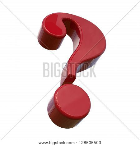 Red question mark. Isolated on white background 3d