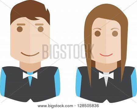 Waiter man and woman set avatar icon flat isolated on white background vector illustration