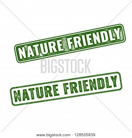 Two Vector Nature Friendly Grunge Rubber Stamps