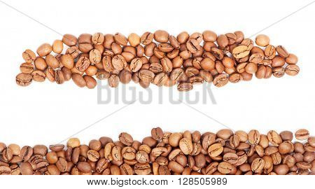 Arranged coffee beans isolated