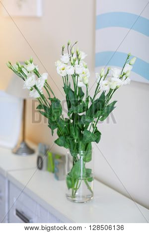 Beautiful bouquet of white flowers, close up