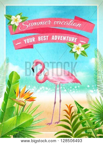 Exotic beach paradise vacation advertisement poster with pink flamingo bird and tropical plants foliage abstract vector illustration