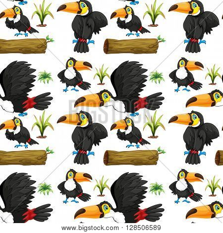 Seamless toucans and wooden log illustration