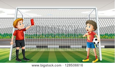 Goalkeeper getting red ticket illustration