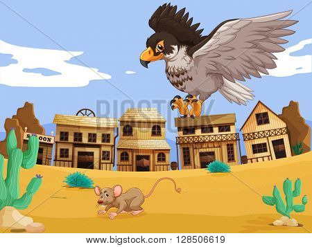 Eagle catching rat in desert illustration