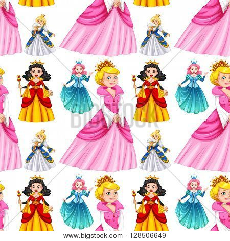Seamless queens in different dresses illustration