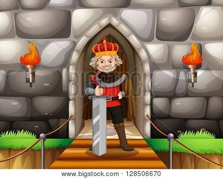 King with big sword at palace illustration