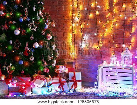 Room interior with Christmas tree and gifts
