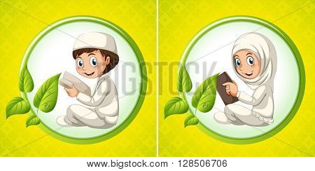 Muslim boy and girl reading book illustration