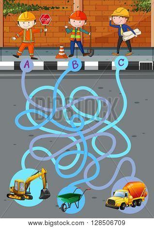Game template with construction workers and tools illustration