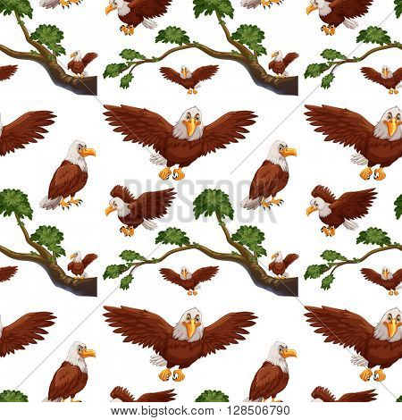 Seamless eagles flying and branch illustration