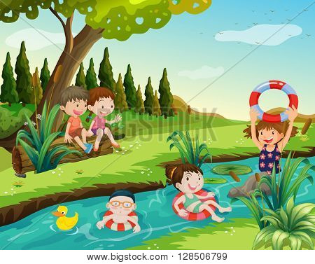 Children swimming in the river illustration