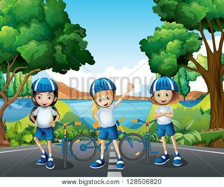 Three girls riding bike on the road illustration