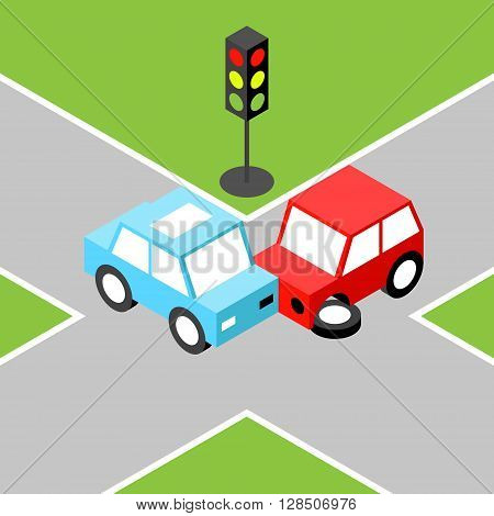 Car accident isometric.Vector illustration. EPS 10. No transparency. No gradients.