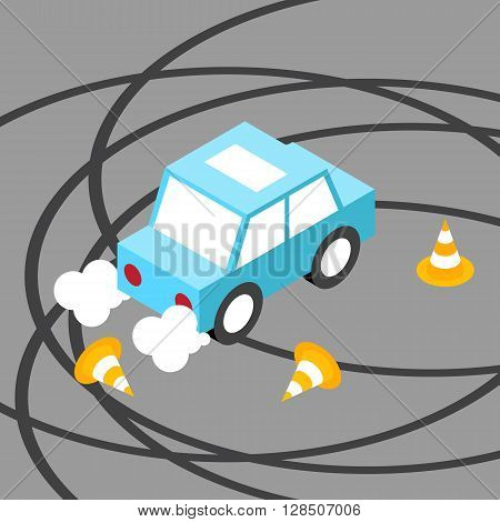Drift car traffic cone isometric.Vector illustration. EPS 10. No transparency. No gradients.