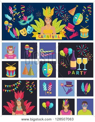 Carnival Icon Flat Vector Illustration Composition Poster