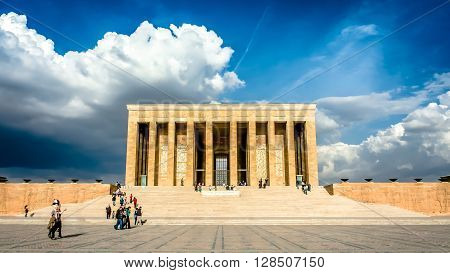 Ankara, Turkey, 25 October, 2012: Ataturk Mausoleum, Anitkabir, monumental tomb of Mustafa Kemal Ataturk, greatest leader,first president of Turkey in Ankara, Turkey