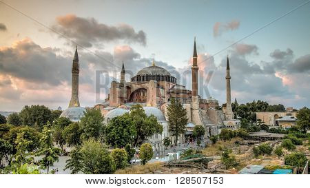 Istanbul, Turkey, 21 July 2013: View of Hagia Sophia, historic centre of Istanbul (UNESCO World Heritage List, 1985), Turkey, 6th century.