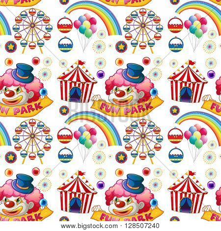 Seamless clown and circus rides illustration