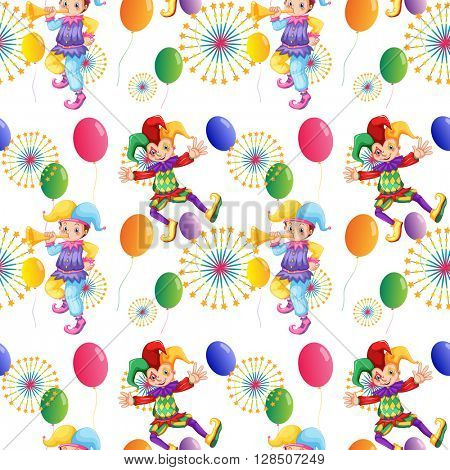 Seamless clown and balloons illustration