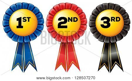 Prize tag in three color illustration