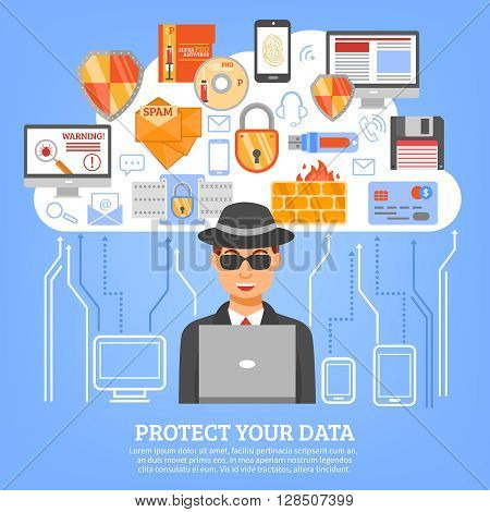 Network security concept with hacker figure at computer and set of decorative icons with floppy disk flash drive firewall and spam symbols flat vector illustration