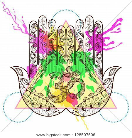 Hand drawn vector protection hamsa hand with symbol Ohm in zentangle, henna tatto style. Hamsa hand with watercolor ink drop in triangle frame. Hipster design for t-shirt print.