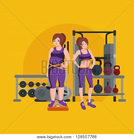 before and after weight loss women in gym concept fitness vector illustration