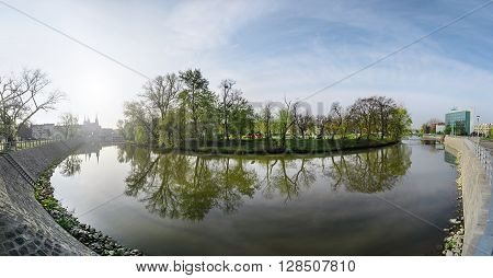 The panorama of Wroclaw park and Odra river in the morning. Poland Europe.