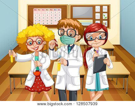 Three scientists with beakers in the classroom illustration