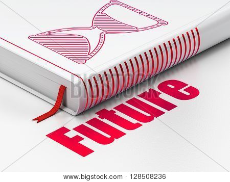Timeline concept: closed book with Red Hourglass icon and text Future on floor, white background, 3D rendering